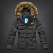 NWT Hollister by Abercrombie&Fitch Womens White Point Parka Jacket Coat Grey XS