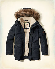 NWT Hollister-Abercrombie&Fitch Mens The Coastal Trail Parka Sherpa-Lined Navy L