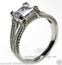 Princess Cut SOLID Sterling Silver & Cubic Zirconia Engagement / Wedding Ring CZ