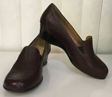 Softspots PADMA Low Wedge Brown Chocolate Leather Slip On 6 6.5 7 7.5 WIDE W *