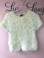 NEW TOPSHOP Winter Short Sleeve Green Cropped Knitted Jumper - Womens Size 10