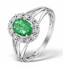 Emerald and Diamond Cluster Ring White Gold Engagement  Certificate  Appraisal