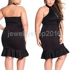 Women Ladies Sexy Halter Sleeveless Hollow Cross Strap Backless Mermaid Dress