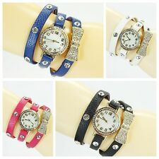 Hot Women Bowknot Crystal Quartz Watch Imitation Leather Watch Cheap