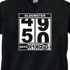 "MENS 50th BIRTHDAY T-Shirt ""OLDOMETER"" BLACK Tee 50 Year Old BIRTHDAY FUNNY TEE"