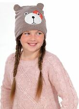 OCTAVE® Girls Knitted Teddy Bear Face Hat With Lurex For Added Sparkle! - Brown