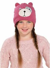 OCTAVE® Girls Knitted Teddy Bear Face Hat With Lurex For Added Sparkle! - Pink
