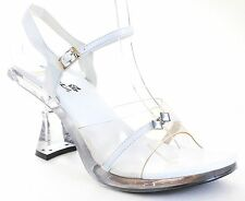 Clear Jeweled Heel White Sandal Women's Low Heels