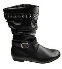 GIRLS FAUX LEATHER FULL INSIDE ZIP FLAT SLOUCH BOOTS BLACK SIZE UK 13-6 NEW