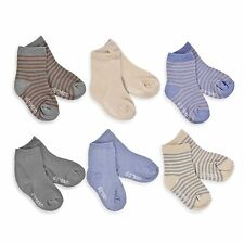 Naartjie Boys Short Crew Socks Solid and Stripes Mixed 6 Pairs Pack Neutral NWT