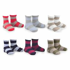 Naartjie Boys Sports Cotton Crew Socks Rugby Stripe 6 Pairs Pack NWT