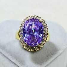 18K Yellow Gold Filled Large Amethyst CZ Women Vintage Jewelry Ring R0350 Sz5-10