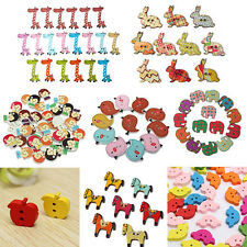 50pcs Cute Colorful Mix Wood Wooden Button 2 Holes Sewing Scrapbook Craft DIY