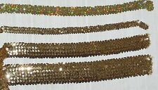 "Stretch Sequin Trim Gold and GOld Hologram 3/4"" 1.5"" 2.5"" Wide Sold by the Yard"