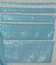 "Stretch Sequin Trim Dark Blue Iris-Baby Blue 3/4"" to 9"" Wide -Sold by the yard"