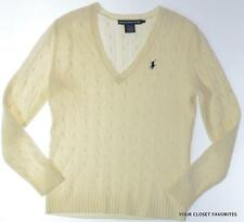 RALPH LAUREN Womens Cream Merino Wool V-Neck Cable Knit Sweater M L XL