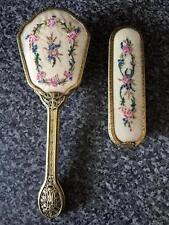 Vintage Petit Point Embroidered Filigree Dressing Table Set Brush Clothes Brush