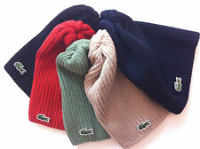 Lacoste Green Croc Logo Wool Ribbed Knit Beanie Hat Cap