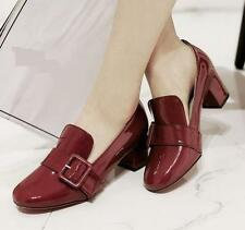 Womens block chunky buckle slip on patent leather dress formal shoes loafer
