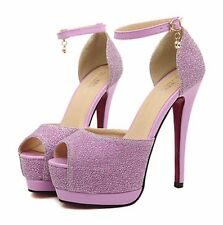 Womens High Heels Ankle Straps Sandals Dress Shoes Platform Peep-toe Party Pumps