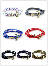 Hot Multilayer Leather Handmade Rope Wristband Men's Anchor Bracelet Bangle