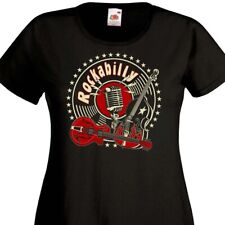 T-shirt femme ROCKABILLY Rock-A-Billy Contrebasse Rock'n'Roll Teddy Girl Rockers