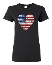 American Heart Flag Distressed Women's T-shirt All Sizes & Colors (4005)