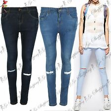 Womens Ribbed Knee Skinny Stretchy Denim Jeans Ladies Fit Legging Jegging Pants