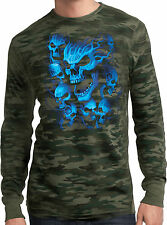 Mens Thermal Motorcycle Biker Shirt Screaming Blue Skulls