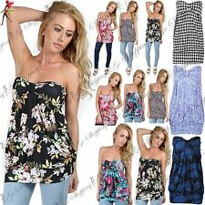 Ladies Strapless Front Knot Aztec Floral Bandeau Boobtube Women Casual Mini Top