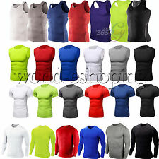 Mens Compression Shirt Under Thermal Base Layer Tops Sports Fitness Gym T-Shirts