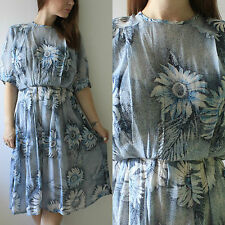 VINTAGE 1980S DOES 40S BLUE FLORAL FLOATY LANDGIRL SUMMER TEA DAY MIDI DRESS 12
