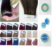 PU Seamless Tape In Skin Weft Remy Human Hair Extension Black Brown Blonde Grey