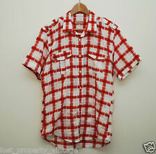Ted Baker shirt size 4 Large red white check checked short sleeves epaulettes