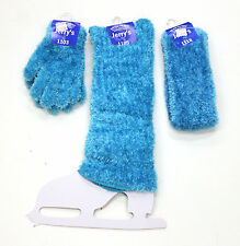New Figure Skating Dress Sky Blue Furry Gloves Legwarmers & Headband