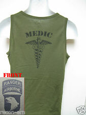101ST AIRBORNE RANGER/ TANK TOP/ OD GREEN/ MILITARY/ MEDIC/ ARMY/  NEW