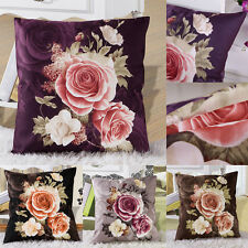 Home Decorati Printing Dyeing Peony Rose Sofa Car Bed Pillow Case Cushion Cover