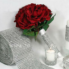 "4.7""/1 Set Diamond Mesh Wrap Roll Rhinestone Wedding Party Decor Trim Wrap Roll"