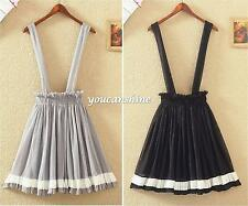 Womens Chiffon College Long Braces Suspender Dress Flared Overalls Pleated Skirt