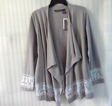 NWT $98 Chelsea &Theodore Gray Cotton Spring Cover Up Cardigan Plus Top 18 20 1X