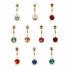 PVD Gold Titanium Double Jewelled Belly Bar -- PIERCING JEWELLERY