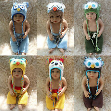 New Cute Handmade Knit Crochet Owl Boy Baby Hats&Pants Newborn Photo Prop Gift