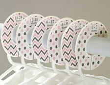 Pink Gray #c105 girl Baby Closet Dividers Clothes Organizers 6 chevron polka