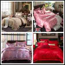 Satin Egyptian Cotton Queen King Size Bed Quilt Doona Cover Comforter Set Pillow