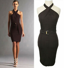 XS M L NEW $1490 GUCCI Brown Jersey BAMBOO CLASP HALTER Snug BELTED Resort DRESS