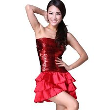 Latin Dance Sequins Chest Wrapped Dress Ballroom Skirt Standard Prom Costume