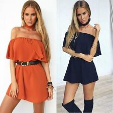 Sexy Women's Summer Casual Off Shoulder Evening Party Cocktail Short Mini Dress