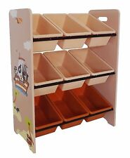 Bebe Style  Large Childrens Pirate Wooden Storage Unit,9 Bins-Toy Organizer Kids