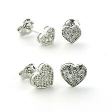 925 Sterling Silver HEART Micro Pave Earrings-Micro Pave Stud| (6 mm/8 mm)