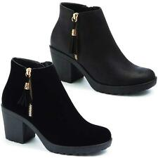 LADIES BOOTS GIRLS WOMEN BLOCK MID HIGH HEEL ANKLE CHELSEA PARTY BLACK SHOES SIZ